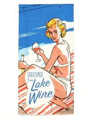 Blue Q Screen Printed Cotton Kitchen Dish Towel - Greetings From Lake Wine