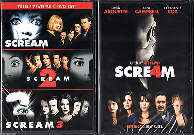SCREAM 1 2 3 4 DVD Set Film Lot Complete Horror Collection Scary Ghost Face  Gory