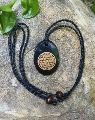 Shungite Necklace,Flower of Life,Macrame, EMF protection,mens gift, male jewelry