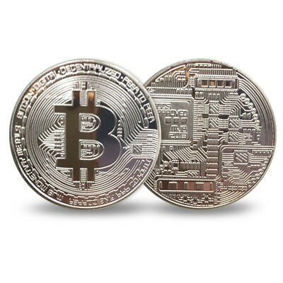 5x Silver Plated Physical Commemorative Bitcoin Coin in Protective Acrylic Case