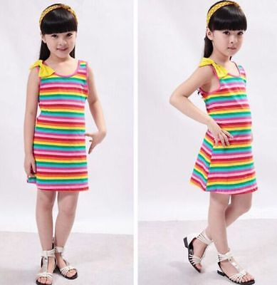 Brand New gorgeous girls Rainbow Stripe Sleeveless Summer Bow Dress 1 2 or 3