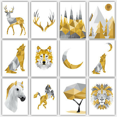 Art PRINT GEOMETRIC ANIMAL FOREST collection YELLOW & GREY Poster Gallery Wall