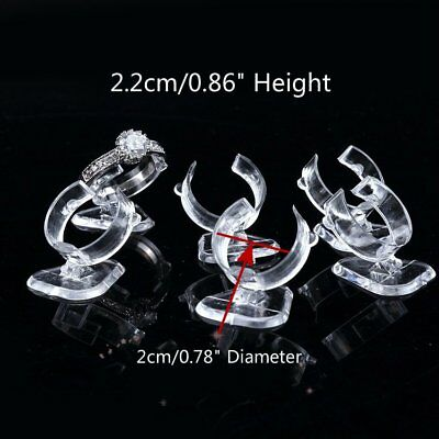 10 x Plastic Ring Display Riser Clear Acrylic Retail Jewelry Display Stand Riser