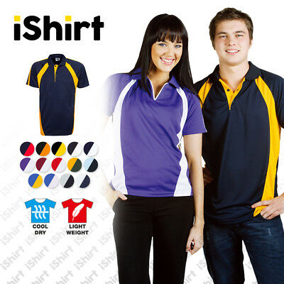 Mens Polo Shirt 100% Polyester Cool Dry Side Panel Breathable Sporty Polo