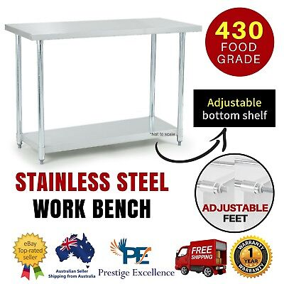 430 Commercial Stainless Steel Kitchen Work Bench Top Food Grade Prep Table New