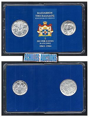 30 Drachmai 1963 & 1964 XF-AU, Greek Kings 1863-1973, 2 Silver Coins in BOX, N2