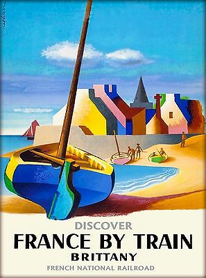 Discover France by Train - Brittany Vintage French Travel Advertisement Poster