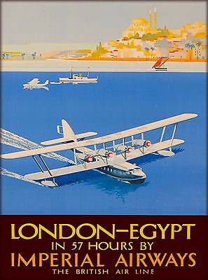 London -  Egypt Imperial Airways Vintage Airline Travel Advertisement Art Poster
