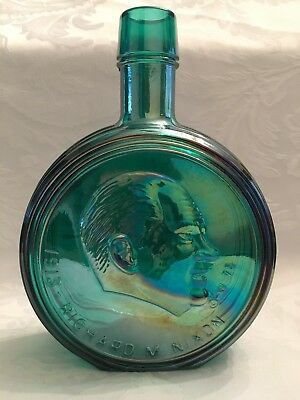 Wheaton First Edition President Nixon Iridescent Green Glass Bottle