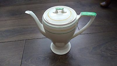 Vintage Art Deco Myott Hand Painted 1.5pt Coffee Pot Cream Green Yellow VGC
