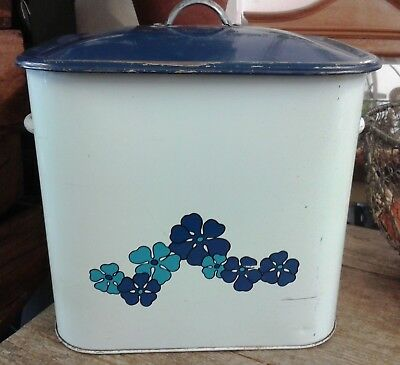 Vintage Tala Blue & White with Flowers Metal Bread Bin - Height 13 ½ ""