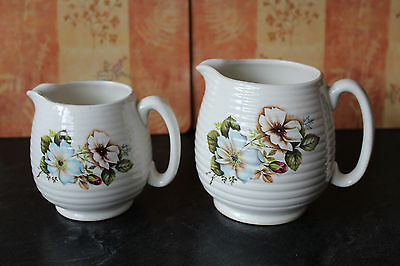 Pair of Beswick Ribbed Jugs 265-2 & 265-3 Cream with Matching Floral Design