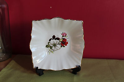 Beswick Square Fluted Edged DIsh with Rose Design Vintage