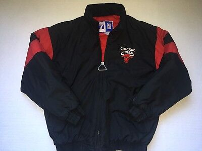 Vintage 90s Chigago Bulls Black And Red Heavy Jacket Logo 7 Mens Size Large