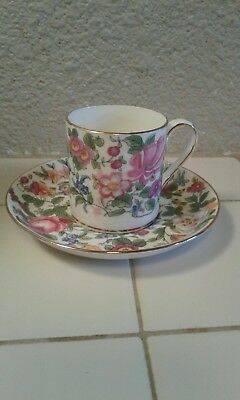 Crown Staffordshire, Fine Bone China, Tea Cup & Saucer made in England