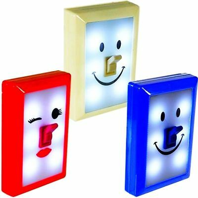 LOT OF 3 LED Fun Switch Emoji Night Lights w/ Emoticon Smiley Faces-FREE SHIPPIN