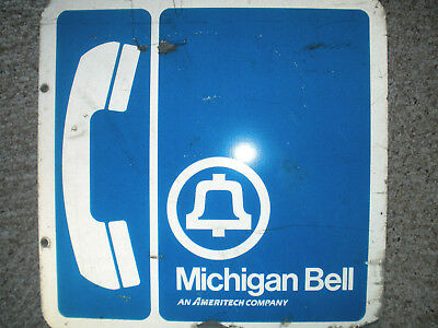 USED Original 18 x 18 Vintage Michigan Bell Phone Double Sign Metal Ameritech