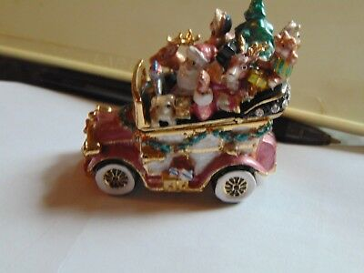 Exquisite Fitz and Floyd Enamel bejeweled trinket box Santa in a JALOPY
