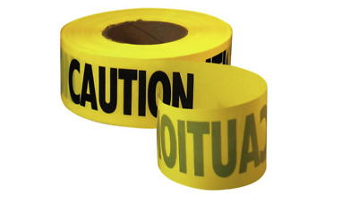 """Yellow Barricade """"CAUTION"""" Tape 3"""" X 1000' -CONSTRUCTION/POLICE/EMS"""