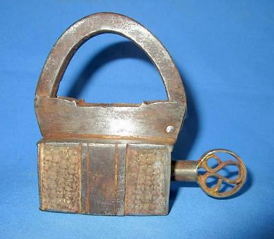 Antique Old Collectible Iron Hand Carved Brass Strip Screw System Key Padlock