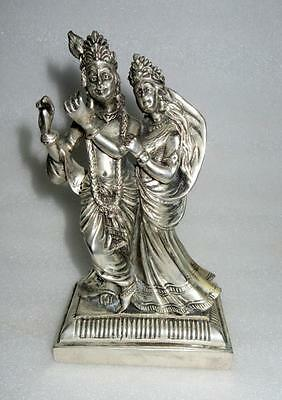 Antique Old Rare Copper Hand Carved Silver Plated Hindu God Radha-Krishna Statue