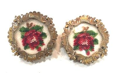 Vintage Petit Point Hand Embroidered Shoe Dress Clips Earrings Rose Design Gold