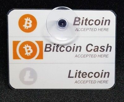 2X Bitcoin LTC BCH Cash Accepted Here Window Removable Sign Laminated Litecoin