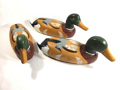 """Lot 3-Vintage Hand Carved Wood Mallard Duck Decoy and Hand Painted 14"""" Inch"""