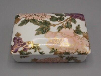 Fitz And Floyd Floral Fine Porcelain Trinket Jewelry Box white pink gold Japan