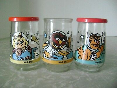 "WELCH'S MUPPETS IN SPACE 4"" Jelly Jar GLASSES 1998.... NO. 2-3-6  HENSEN"