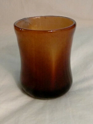"Stylishly Handcrafted Ombre' Gold & Brown Colors Swirl Glass Vase 4-1/4"" Tall"