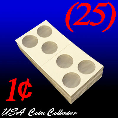 (25) 3-Hole Penny Size 2x2 Mylar Cardboard Coin Flips for Storage | Paper Holder