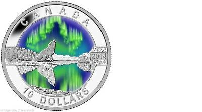 $10 Northern Lights Howling Wolf 2014 O'Canada 1/2oz Proof silver coin w/Box&COA