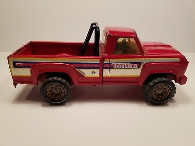 """Vintage Toy Tonka Red Pick Up Truck. 14"""" x 6"""". Pressed Steel. From 70's or 80's"""