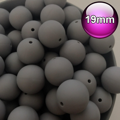 10 x Round Silicone Beads Grey 19mm Food Grade Baby Teeth safe BPA Free 20mm
