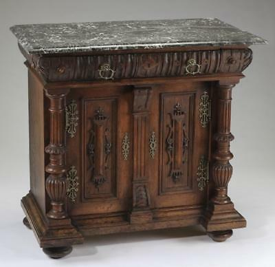 GORGEOUS American carved oak marble top cabinet, early 1900s