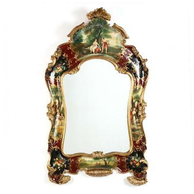 STUNNING Scenic Painted Venetian Style Wall Mirror, early to mid 20th century