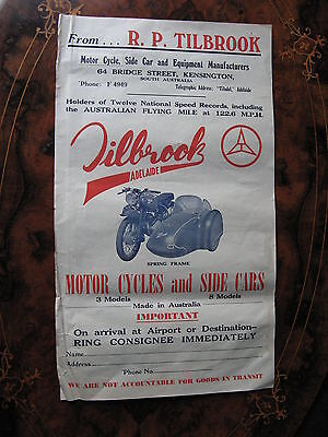 Tilbrook Motorcycle And Sidecar  Poster Size Shipping Label