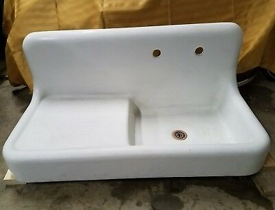 "42"" Cast Iron Drainboard Farmhouse Vintage Kitchen Sink Apron Antique Porcelain"