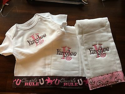 Cowgirls Country Girl Personalized Baby Girl Burp Cloth and BodySuit Set