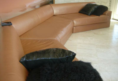 Tan Leather Sectional Couch with Matching Chair