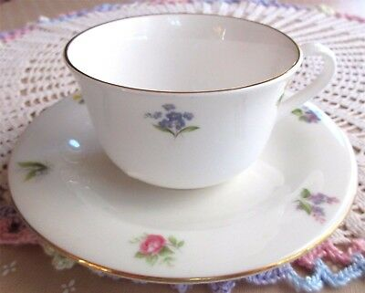Vintage Staffordshire Cup Saucer White Mini Floral Flowers Bone China England