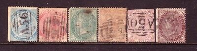 JAMAICA....  1860  QV set of 6 used.... cv £150