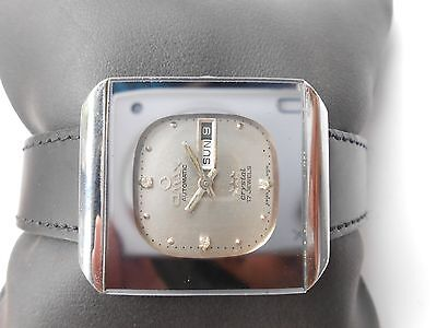 Rare Vintage Swiss Made Omax Square Model Mens Day Date Automatic Wristwatch