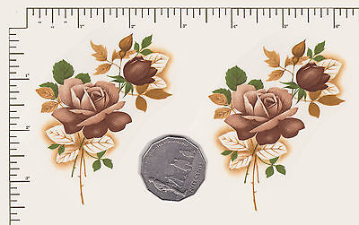 """2 x Waterslide ceramic decals Decoupage Rose spray floral 3 1/2"""" x 2 1/ 2"""" PD850"""