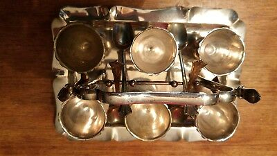 vintage silver plated egg cup set  of six with spoons and tray