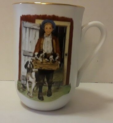 Norman Rockwell Vintage Mug Puppy Love 1986 The Museum Certified Authentic