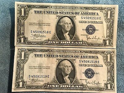 1935-C two $1 Silver Certificate Notes (consecutive serial #s) Blue Seal - VF/EF