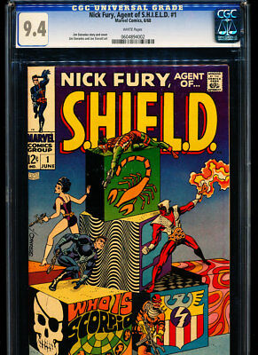 NICK FURY, AGENT OF SHIELD #1 CGC 9.4 Steranko story & art! White Pages!