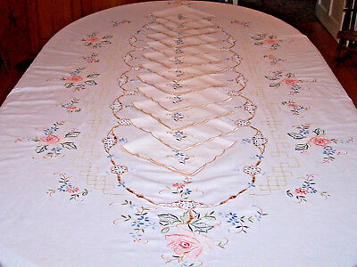 "Vintage Floral Embroidered Tablecloth, 99"" Banquet Sized, 12 Napkins, Ex. Cond."